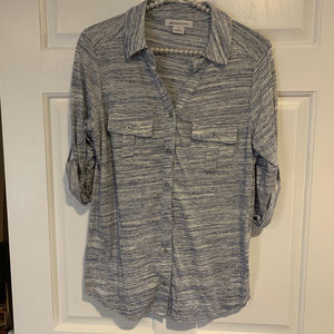 Liz Claiborne Roll Tab Sleeve Button Up Top